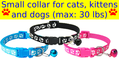 small pet collar with bell reflective dog cat