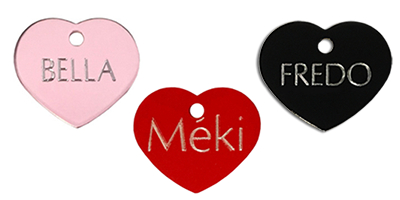 pet tag large heart for dog and cat