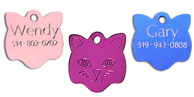 kitty cat face pet tag engraved