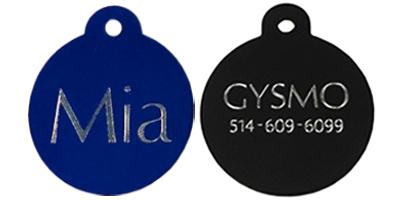 custom engraved circle round pet tag