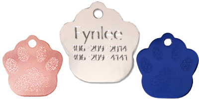 large paw tags for cats and dogs