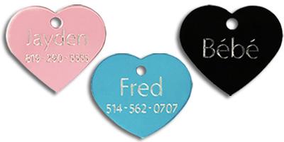 medium heart shaped pet tags