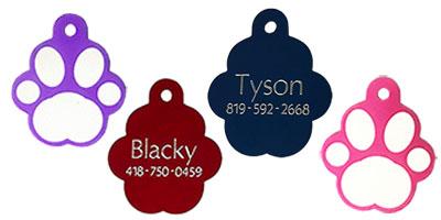printed paw shape pet tags