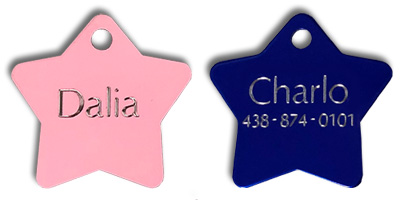 custom engraved pet tags star shape for dog and cat