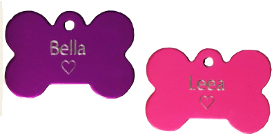 bone small custom engraved heart for small dogs